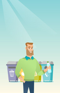 Caucasian man throwing away garbage. Young man standing near four bins and throwing away garbage in an appropriate bin. Concept of garbage separation. Vector flat design illustration. Vertical layout.