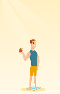 Caucasian man with apple in hand weighing after diet. Man satisfied with the result of diet. Man on a diet. Dieting and healthy lifestyle concept. Vector flat design illustration. Vertical layout.
