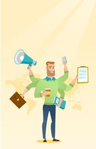 Caucasian man with many legs and hands coping with multitasking. Businessman doing multiple tasks. Multitasking business person. Multitasking concept. Vector flat design illustration. Vertical layout.