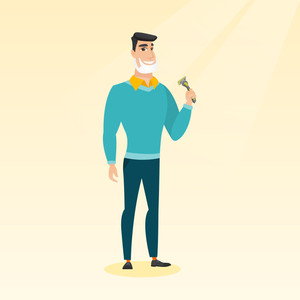 Caucasian man with shaving cream on his face and razor in hand. Man shaving face. Young man prepping face for daily shaving. Concept of daily hygiene. Vector flat design illustration. Square layout.