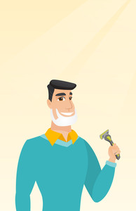 Caucasian man with shaving cream on his face and razor in hand. Man shaving face. Young man prepping face for daily shaving. Concept of daily hygiene. Vector flat design illustration. Vertical layout.