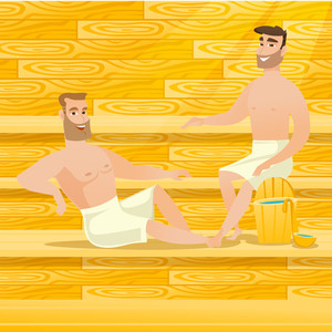 Caucasian men relaxing in a sauna. Relaxed men sitting in a sauna. Happy friends in towels resting in a sauna. Concept of body care and spa treatments. Vector flat design illustration. Square layout.