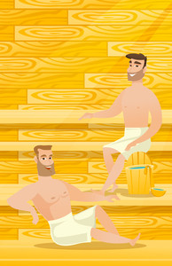 Caucasian men relaxing in a sauna. Relaxed men sitting in a sauna. Happy friends in towels resting in a sauna. Concept of body care and spa treatments. Vector flat design illustration. Vertical layout