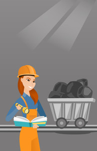 Caucasian miner checking documents with the flashlight on the background of trolley with coal. Mine worker in hard hat. Female miner in the coal mine. Vector flat design illustration. Vertical layout.