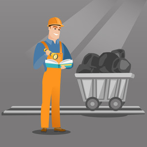 Caucasian miner checking documents with the flashlight on the background of trolley with coal. Mine worker in hard hat. Miner working in the coal mine. Vector flat design illustration. Square layout.