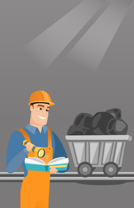 Caucasian miner checking documents with the flashlight on the background of trolley with coal. Mine worker in hard hat. Miner working in the coal mine. Vector flat design illustration. Vertical layout