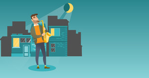 Caucasian musician playing the saxophone. Man with closed eyes playing the saxophone in the night. Musician with the saxophone in the city street. Vector flat design illustration. Horizontal layout.