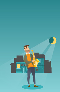 Caucasian musician playing the saxophone. Man with closed eyes playing the saxophone in the night. Musician with the saxophone in the city street. Vector flat design illustration. Vertical layout.