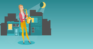 Caucasian musician playing the saxophone. Woman with closed eyes playing the saxophone in the night. Musician with the saxophone in the city street. Vector flat design illustration. Horizontal layout.