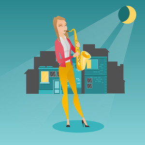 Caucasian musician playing the saxophone. Woman with closed eyes playing the saxophone in the night. Musician with the saxophone in the city street. Vector flat design illustration. Square layout.