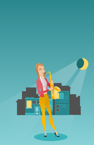 Caucasian musician playing the saxophone. Woman with closed eyes playing the saxophone in the night. Musician with the saxophone in the city street. Vector flat design illustration. Vertical layout.