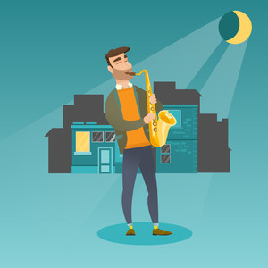 Caucasian musician playing the saxophone. Young man with closed eyes playing the saxophone in the night. Musician with the saxophone in the city street. Vector flat design illustration. Square layout.