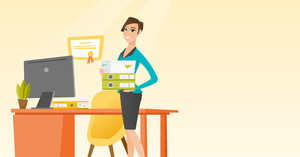 Caucasian office worker holding pile of folders in hands. Smiling office worker with documents. Full length of young joyful female office worker. Vector flat design illustration. Horizontal layout.