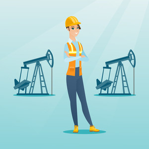 Caucasian oil worker in uniform and helmet. Cnfident oil worker standing with crossed arms. Female oil worker standing on the background of pump jack. Vector flat design illustration. Square layout.