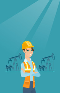 Caucasian oil worker in uniform and helmet. Cnfident oil worker standing with crossed arms. Female oil worker standing on the background of pump jack. Vector flat design illustration. Vertical layout.