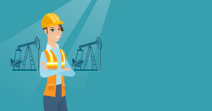 Caucasian oil worker in uniform and helmet. Cnfident oil worker standing with crossed arms. Young oil worker standing on the background of pump jack. Vector flat design illustration. Horizontal layout
