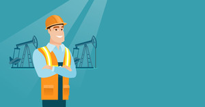 Caucasian oil worker in uniform and helmet. Confident oil worker standing with crossed arms. Oil worker standing on the background of pump jack. Vector flat design illustration. Horizontal layout.