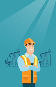 Caucasian oil worker in uniform and helmet. Confident oil worker standing with crossed arms. Young oil worker standing on the background of pump jack. Vector flat design illustration. Vertical layout.
