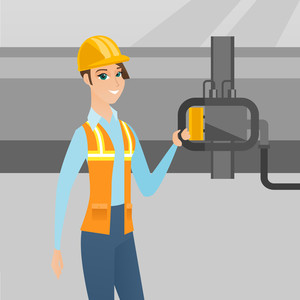 Caucasian operator of oil refinery plant checking detector on pipeline. Worker standing on the background of pipeline. Technician maintaining pipeline. Vector flat design illustration. Square layout.