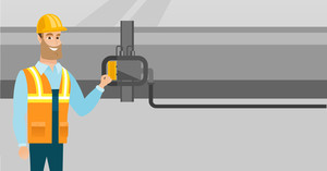 Caucasian operator of refinery plant checking detector on pipeline. Worker standing on the background of pipeline. Technician maintaining pipeline. Vector flat design illustration. Horizontal layout.
