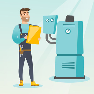 Caucasian plumber making some notes in his clipboard. Plumber inspecting heating system in boiler room. Widely smiling plumber in overalls at work. Vector flat design illustration. Square layout.