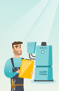 Caucasian plumber making some notes in his clipboard. Plumber inspecting heating system in boiler room. Widely smiling plumber in overalls at work. Vector flat design illustration. Vertical layout.