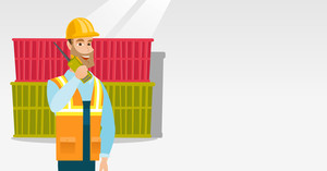 Caucasian port worker in hard hat talking on wireless radio. Port worker standing on cargo containers background. Port worker using wireless radio. Vector flat design illustration. Horizontal layout.