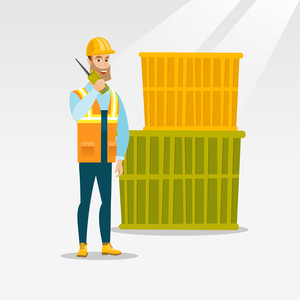 Caucasian port worker in hard hat talking on wireless radio. Port worker standing on cargo containers background. Port worker using wireless radio. Vector flat design illustration. Square layout.