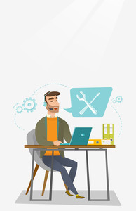 Caucasian professional operator of technical support working on computer. Hipster operator of technical support at work. Concept of technical support. Vector flat design illustration. Vertical layout.