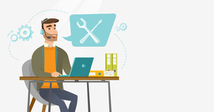Caucasian professional operator of technical support working on computer. Hipster operator of technical support at work. Technical support concept. Vector flat design illustration. Horizontal layout.