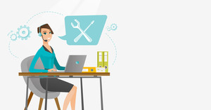 Caucasian professional operator of technical support working on computer. Young operator of technical support at work. Concept of technical support. Vector flat design illustration. Horizontal layout.