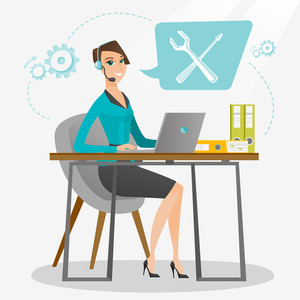 Caucasian professional operator of technical support working on computer. Young operator of technical support at work. Concept of technical support. Vector flat design illustration. Square layout.