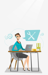 Caucasian professional operator of technical support working on computer. Young operator of technical support at work. Concept of technical support. Vector flat design illustration. Vertical layout.