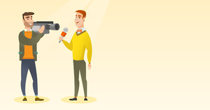 Caucasian reporter with a microphone presenting news. Young hipster operator with camera filming a reporter. Reporter and operator recording news. Vector flat design illustration. Horizontal layout.