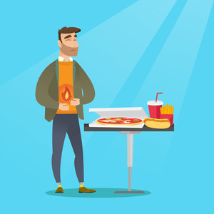Caucasian sad man having a stomach ache from heartburn. Young hipster man suffering from a heartburn. Upset man having a stomach ache after fast food. Vector flat design illustration. Square layout.