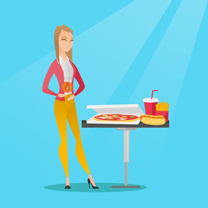 Caucasian sad woman having a stomach ache from heartburn. Young woman suffering from a heartburn. Upset woman having a stomach ache after fast food. Vector flat design illustration. Square layout.