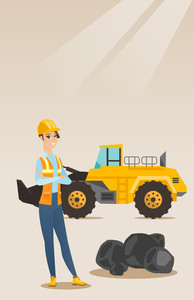 Caucasian smiling female miner in hard hat standing on the background of a big excavator. Confident female miner with crossed arms standing near coal. Vector flat design illustration. Vertical layout.