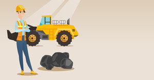 Caucasian smiling female miner in hard hat standing on the background of big excavator. Confident female miner with crossed arms standing near coal. Vector flat design illustration. Horizontal layout.