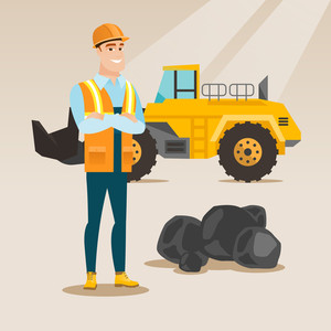 Caucasian smiling male miner in hard hat standing on the background of a big excavator. Confident miner in helmet with crossed arms standing near coal. Vector flat design illustration. Square layout.