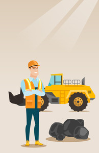 Caucasian smiling male miner in hard hat standing on the background of a big excavator. Confident miner in helmet with crossed arms standing near coal. Vector flat design illustration. Vertical layout