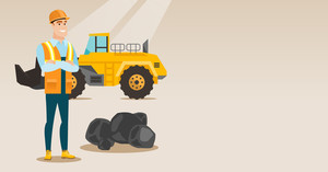 Caucasian smiling male miner in hard hat standing on the background of big excavator. Confident miner in helmet with crossed arms standing near coal. Vector flat design illustration. Horizontal layout