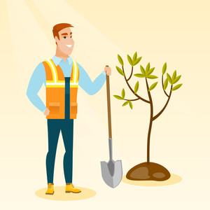 Caucasian smiling man plants a tree. Cheerful man standing with shovel near newly planted tree. Young man gardening. Environmental protection concept. Vector flat design illustration. Square layout.