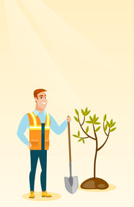 Caucasian smiling man plants a tree. Cheerful man standing with shovel near newly planted tree. Young man gardening. Environmental protection concept. Vector flat design illustration. Vertical layout.