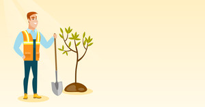 Caucasian smiling man plants a tree. Happy man standing with shovel near newly planted tree. Young man gardening. Environmental protection concept. Vector flat design illustration. Horizontal layout.