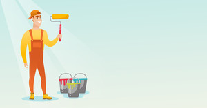 Caucasian smiling painter in uniform holding paint roller in hands. Young cheerful house painter at work. Happy painter standing near paint cans. Vector flat design illustration. Horizontal layout.