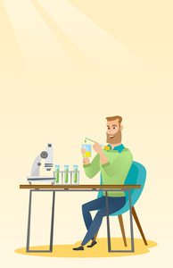 Caucasian smiling student carrying out laboratory experiment. Student working with microscope at laboratory class. Student experimenting in laboratory. Vector flat design illustration. Vertical layout