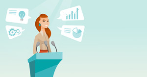 Caucasian speaker giving speech at podium with microphones at business conference. Smilig speaker giving a speech at podium at business seminar. Vector flat design illustration. Horizontal layout.
