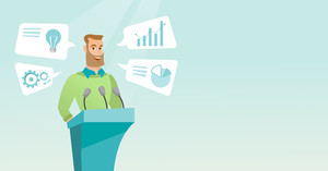 Caucasian speaker giving speech at podium with microphones at business conference. Smiling speaker giving a speech at podium at business seminar. Vector flat design illustration. Horizontal layout.