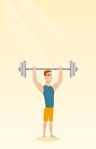 Caucasian sporty man lifting a heavy weight barbell. Young strong sportsman doing exercise with barbell. Weightlifter holding a barbell above his head. Vector flat design illustration. Vertical layout