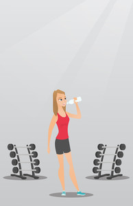 Caucasian sporty woman drinking water. Young woman standing with bottle of water in the gym. Smiling sportswoman drinking water from the bottle. Vector flat design illustration. Vertical layout.